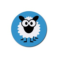 Sheep Animals Bleu Rubber Round Coaster (4 Pack)  by AnjaniArt