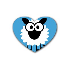 Sheep Animals Bleu Rubber Coaster (heart)  by AnjaniArt