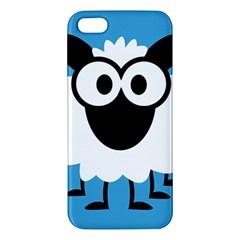 Sheep Animals Bleu Apple Iphone 5 Premium Hardshell Case by AnjaniArt