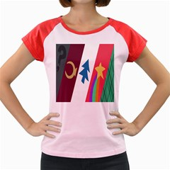 Star Color Women s Cap Sleeve T Shirt