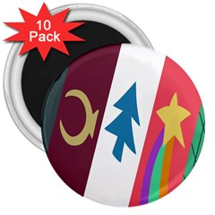 Star Color 3  Magnets (10 Pack)  by AnjaniArt