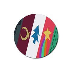 Star Color Rubber Round Coaster (4 Pack)  by AnjaniArt