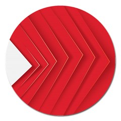Rank Red White Magnet 5  (round) by AnjaniArt