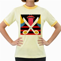 Scissors Tongue Women s Fitted Ringer T Shirts by AnjaniArt