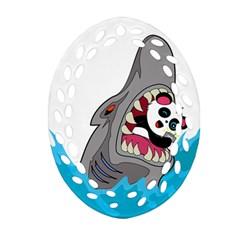 Panda Sharke Blue Sea Ornament (oval Filigree)