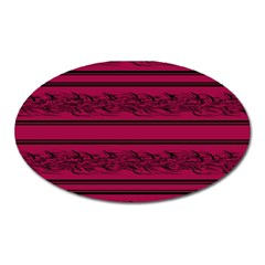Red Barbwire Pattern Oval Magnet by Valentinaart