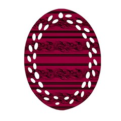 Red Barbwire Pattern Ornament (oval Filigree)  by Valentinaart