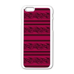 Red Barbwire Pattern Apple Iphone 6/6s White Enamel Case
