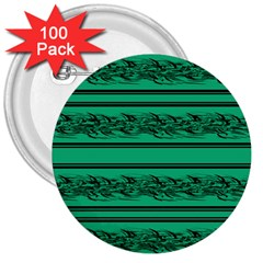 Green Barbwire 3  Buttons (100 Pack)  by Valentinaart
