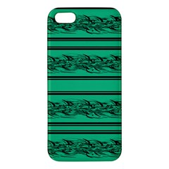 Green Barbwire Apple Iphone 5 Premium Hardshell Case by Valentinaart