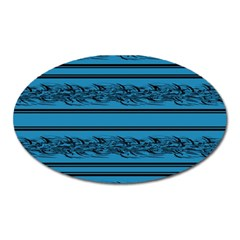 Blue Barbwire Oval Magnet by Valentinaart