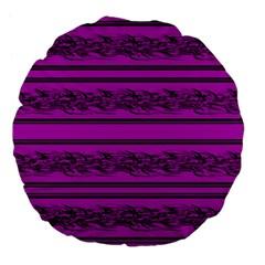 Magenta Barbwire Large 18  Premium Flano Round Cushions by Valentinaart