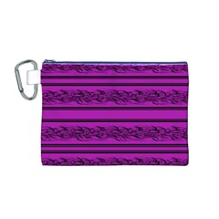 Magenta Barbwire Canvas Cosmetic Bag (m) by Valentinaart