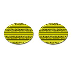 Yellow Barbwire Cufflinks (oval) by Valentinaart