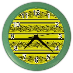 Yellow Barbwire Color Wall Clocks by Valentinaart