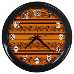 Orange Barbwire Pattern Wall Clocks (black) by Valentinaart