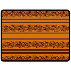 Orange Barbwire Pattern Fleece Blanket (large)  by Valentinaart