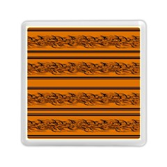 Orange Barbwire Pattern Memory Card Reader (square)  by Valentinaart