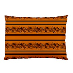 Orange Barbwire Pattern Pillow Case (two Sides) by Valentinaart