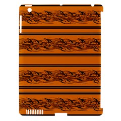 Orange Barbwire Pattern Apple Ipad 3/4 Hardshell Case (compatible With Smart Cover) by Valentinaart