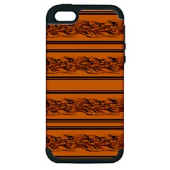 Orange Barbwire Pattern Apple Iphone 5 Hardshell Case (pc+silicone) by Valentinaart
