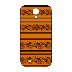 Orange Barbwire Pattern Samsung Galaxy S4 I9500/i9505  Hardshell Back Case by Valentinaart