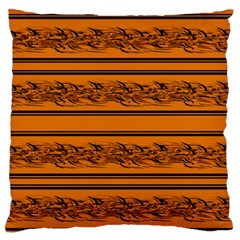 Orange Barbwire Pattern Large Flano Cushion Case (two Sides) by Valentinaart