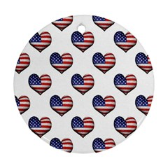 Usa Grunge Heart Shaped Flag Pattern Ornament (round)  by dflcprints