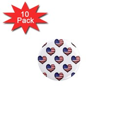 Usa Grunge Heart Shaped Flag Pattern 1  Mini Magnet (10 Pack)  by dflcprints