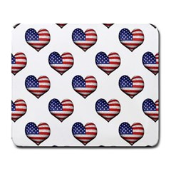 Usa Grunge Heart Shaped Flag Pattern Large Mousepads by dflcprints