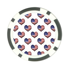 Usa Grunge Heart Shaped Flag Pattern Poker Chip Card Guards (10 Pack)  by dflcprints