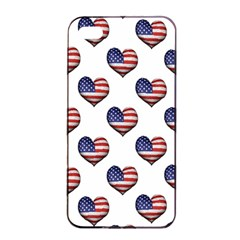Usa Grunge Heart Shaped Flag Pattern Apple Iphone 4/4s Seamless Case (black) by dflcprints