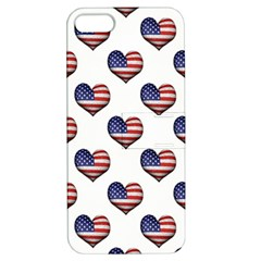 Usa Grunge Heart Shaped Flag Pattern Apple Iphone 5 Hardshell Case With Stand by dflcprints