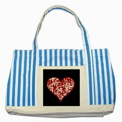 Valentine s Day Design Striped Blue Tote Bag by Valentinaart