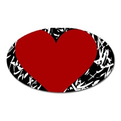 Red Valentine Oval Magnet by Valentinaart