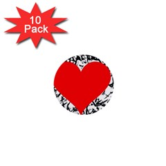 Red Valentine 2 1  Mini Buttons (10 Pack)  by Valentinaart