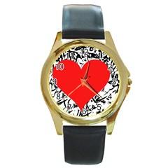 Red Valentine 2 Round Gold Metal Watch by Valentinaart