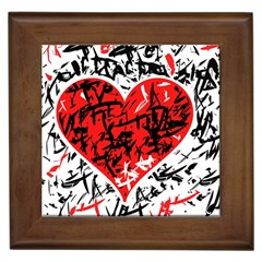 Red Hart   Graffiti Style Framed Tiles by Valentinaart