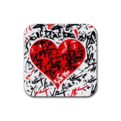 Red Hart   Graffiti Style Rubber Coaster (square)  by Valentinaart