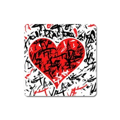 Red Hart   Graffiti Style Square Magnet by Valentinaart