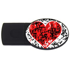 Red Hart   Graffiti Style Usb Flash Drive Oval (2 Gb)  by Valentinaart