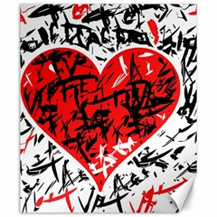 Red Hart   Graffiti Style Canvas 20  X 24   by Valentinaart