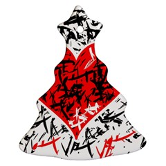 Red Hart   Graffiti Style Christmas Tree Ornament (2 Sides) by Valentinaart