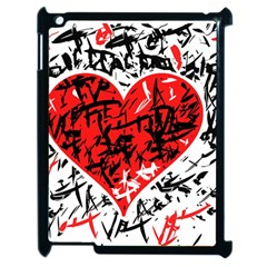 Red Hart   Graffiti Style Apple Ipad 2 Case (black) by Valentinaart