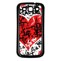 Red Hart   Graffiti Style Samsung Galaxy S3 Back Case (black) by Valentinaart