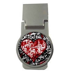Red Graffiti Style Hart  Money Clips (round)  by Valentinaart