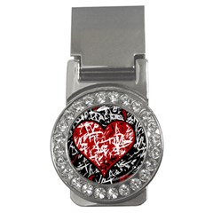 Red Graffiti Style Hart  Money Clips (cz)  by Valentinaart