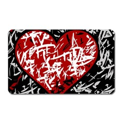 Red Graffiti Style Hart  Magnet (rectangular) by Valentinaart