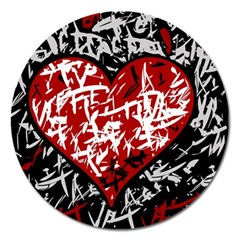 Red Graffiti Style Hart  Magnet 5  (round) by Valentinaart