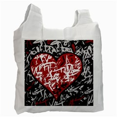 Red Graffiti Style Hart  Recycle Bag (one Side) by Valentinaart